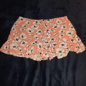 Tropical floral print pajama shorts